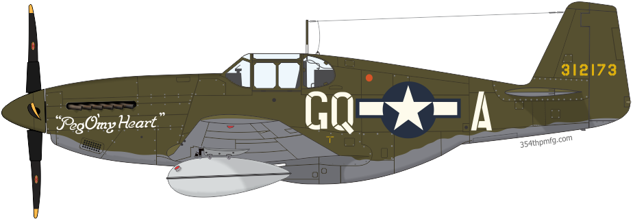 P-51B Mustang Peg O'my Heart, assigned to Maj. George R. Bickell