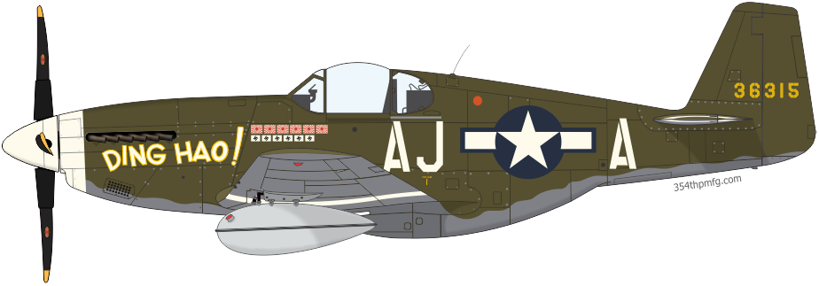 P-51B Mustang DING HAO! assigned, to Lt. Col. James H. Howard